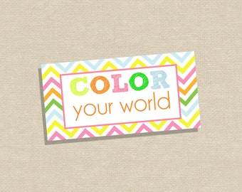 Party Favor Stickers - Party Favor Tags - Crayon Party Favor Stucker - Crayon Party Favor Tag - Color Your World Sticker or Tag