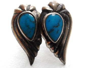 Vintage Sterling Silver Spider Turquoise Girl's Earrings