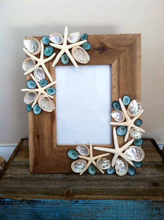 beach decor seashell picture frame aqua shell by shellsunlimited. Black Bedroom Furniture Sets. Home Design Ideas