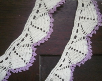 Hand Crocheted White and Lavender Lace Trim 166 Inches