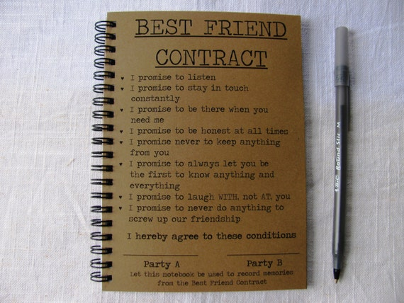 Best friend contract notebook on the hunt best friend contract 5 x 7 journal by journalingjane on etsy thecheapjerseys Choice Image
