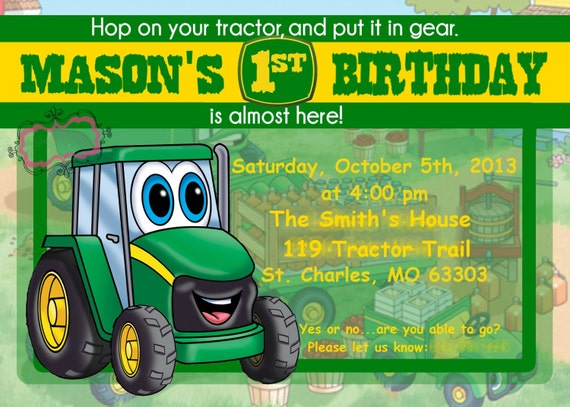 Boys Tractor Birthday Johnny Tractor Inspired Printable