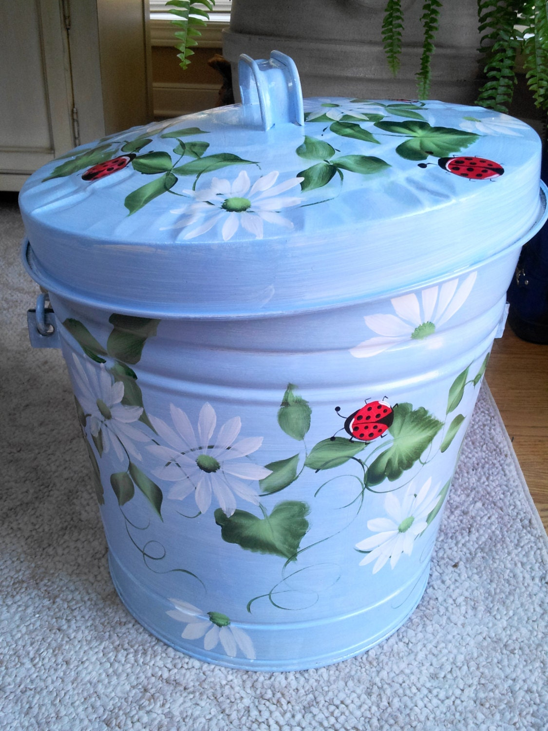 6 Gallon Hand Painted Galvanized Trash Can