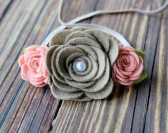 felt flower headband  - newborn/baby/toddler headband - spring headband  - photo prop