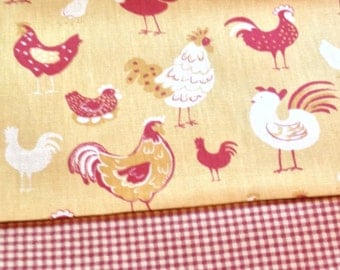 70 x 13 Country Chicken Print/Gingham Reversible Table Runner