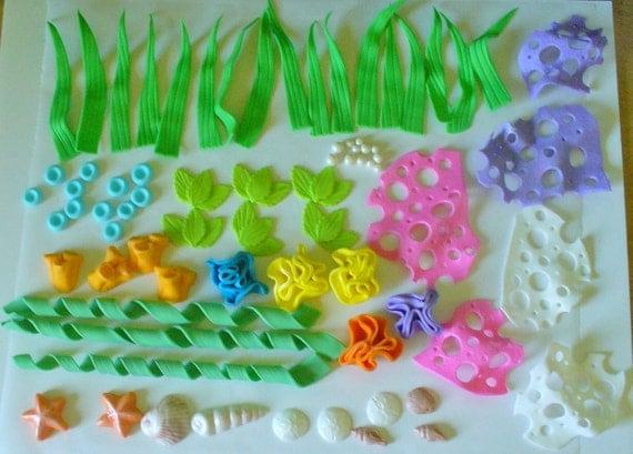 75 Piece UNDER THE SEA Edible Fondant Cake Decorations