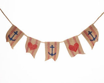 Anchor and Heart Burlap Banner