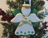 Irish angel ceramic hand painted and embellished ornament for tree, wreath or package trim. PERSONALIZED FREE!