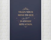 Train your mind - Motivational print quotes inspirational poster
