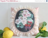ON SALE Floral Cameo Pillow - Handpainted Flora Head, ready to ship