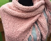 Triangle scarf,women soft triangle scarf, hand knitted light pink triangle scarf,cozy wrap, soft shawl,big wrap,great gift