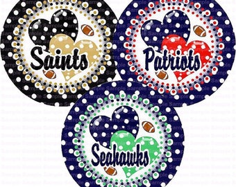 Football Polka Dot Hearts (3 Sheets) Bottle Cap Images 4x6 Bottlecap Collage Scrapbooking Jewelry Hairbow Center