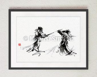 Kendo Martial Arts. Originele poster Wall Decor Japanse stijl. Traditionele Kunst Warrior Samurai Sword Dojo.