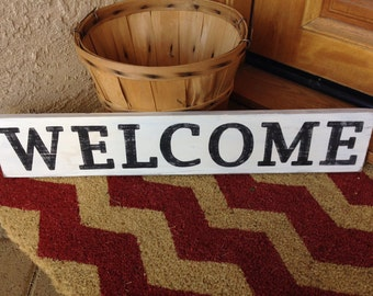 WELCOME Distressed Custom Wood Sign