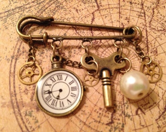 Clock and Key Steampunk Pin
