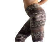 Printed leggings,  yoga pants Brown Earth Leggings Women's Stripe Tribal  Spring Leggings , women leggings