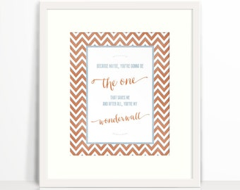 "Oasis ""Wonderwall"" Lyric Word Art - Wall Art  - 8x10 Word Art - Matted Print"
