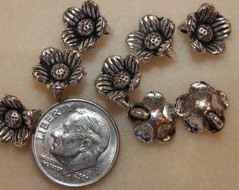 12pc Pewter Silver Plated Flower Charm Button Bead