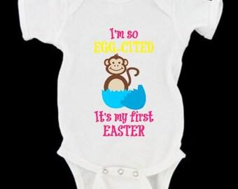 First Easter Eggcited Monkey bodysuit