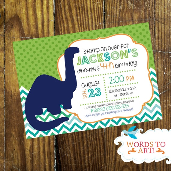 CUSTOM Dinosaur Birthday Party Invitations Chevron Polka Dots Made To Order Customizable