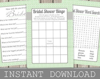 BRIDAL Shower Games Set /  Bingo, Word Search, How well do you know the Bride Cards /  mint /  INSTANT DOWNLOAD / digital printable files