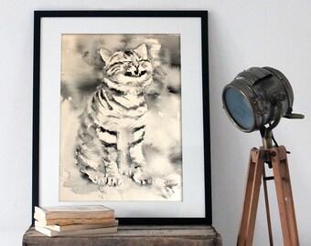 Watercolor Print. Wall art digital print of a black and white cat.