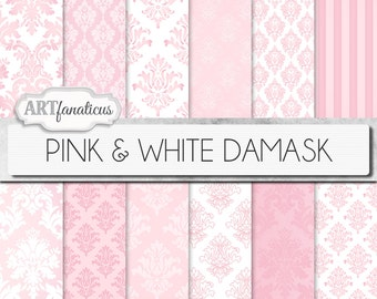 "Damask digital papers ""PINK & WHITE DAMASK"" elegant, pink, white, damask for weddings, baby shower, scrapbooking, invites, cards, home décor"