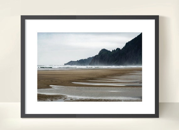 Low Tide at Ecola State Park. Cannon Beach. Oregon. Pacific Ocean. Beach. Surf. Travel Photography. Landscape Print by OneFrameStories.