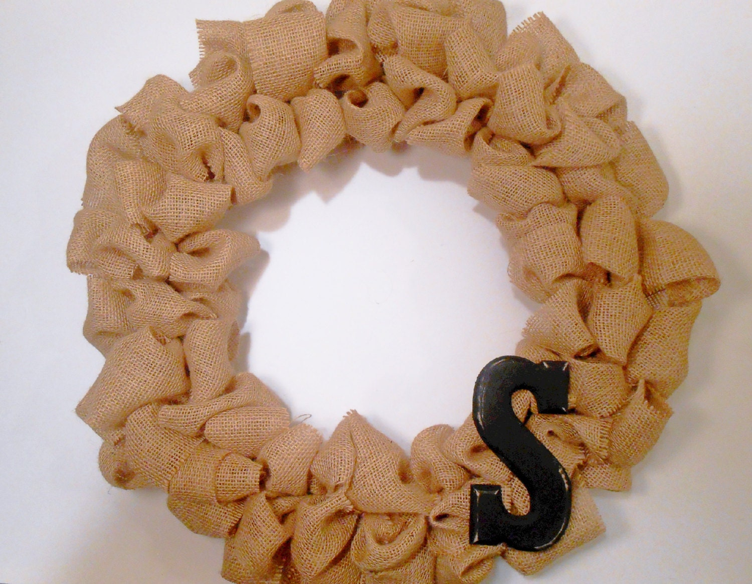 Burlap Christmas Wreath with Rustic Monogram, Burlap Decor, Christmas decor, Monogram Wreath