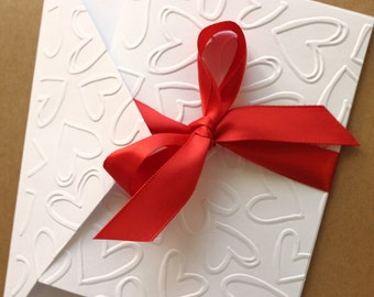 Valentine Cards, Heart Cards, Love Cards, Valentines Day Cards, Embossed Heart Cards, Love Note, Note Card Set, Heart Stationery