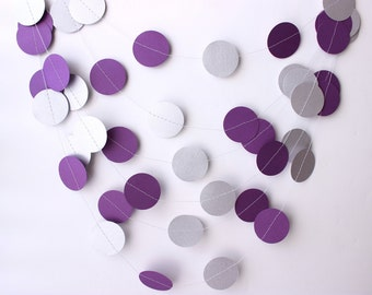 Wedding Garland, Purple & Silver Garland, Purple Wedding Garland, Bridal Shower, Wedding Decor, Silver Garland, Baby Shower, Photo Prop