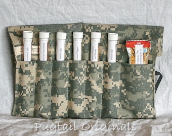 Personalized Meal Improvement Kit - ACU Digicam - Deployed Military, Army, Navy, Air Force, Marines.  Seasonings in a unique roll up kit