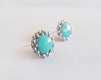 Turquoise Silver Round Stud Earrings - Hypoallergenic Surgical Steel Posts