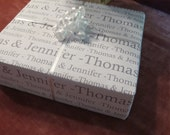 """Personalized Wedding Gift Paper Wrapping Paper : Bride and Groom Names 24 x 36"""" sheet"""