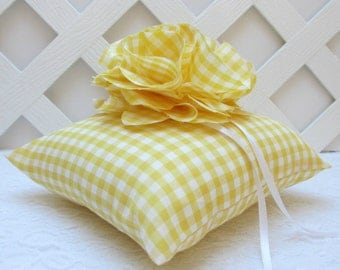 Yellow Gingham Wedding Ring Pillow, Yellow Ring Bearer Pillow, Yellow Wedding, Matching Items Available