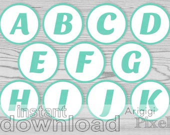 aqua blue letters numbers party printables 2 and half inch circles alphabet cupcake toppers bingo numbers download