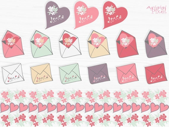 Valentine Love Mail clip art and digital papers, candy colors, hand drawn clipart, small commercial use, digital download
