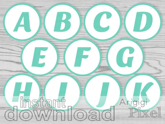 alphabet aqua blue - letters numbers - party printables - alphabet cupcake toppers - bingo numbers download