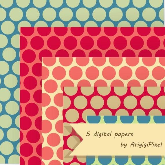 large dots digital sheet, polka dot fall colors, printable decorative patterned scrapbooking papers, digital background download