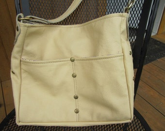 Hand Made Genuine Leather Purse in very pale yellow with stud details and shoulder strap (226)