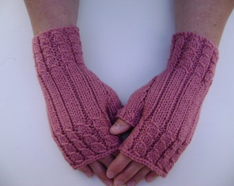 Fingerless Gloves/ Handwarmers in Dusty Pink. Hand-Knit.Ready to Ship.