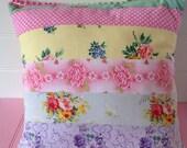 Vintage Fabric Patchwork,  Floral Cushion 40cm x 40cm, Includes cushion pad, Exquisite Fabrics, patchwork pillow, decorative pillow.