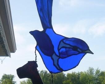 Bluebird Sun Catcher, Stained Glass Window Cling