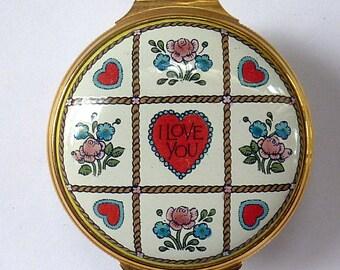 Vintage Halcyon Days Porcelain Enamel Box: Valentine's Day 1985