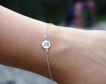 Sterling Silver Om Bracelet, Yoga Bracelet, Sterling Silver Bracelet
