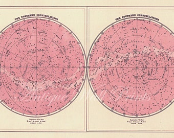 Pastel Pink Double Star Map - Art Print
