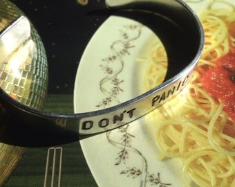 Don't panic - hand stamped metal cuff