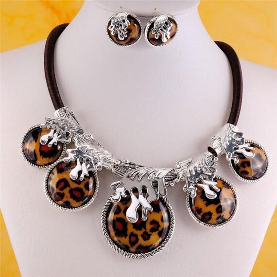 Leopard Print Tribal Necklace Amp Earring Set
