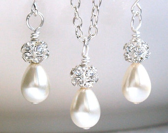 Tiny Ivory Bridesmaid 3 Gift Sets Necklaces Earrings Ivory Pearl Bridesmaid 3 Sets necklaces earrings Bridesmaid gift Wedding Party