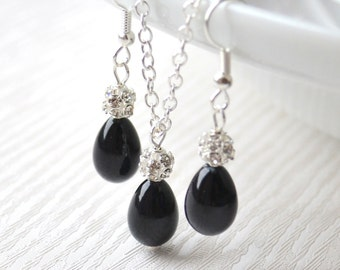Black bridesmaids jewelry set Black pearls and rhinestones jewelry Bridesmaids gift set Flower girls gift set of necklace and earrings